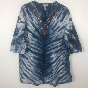 Catherine's Tie Dye Tunic blue and white 1X